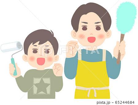 掃除を頑張る父子 - 大掃除 65244684