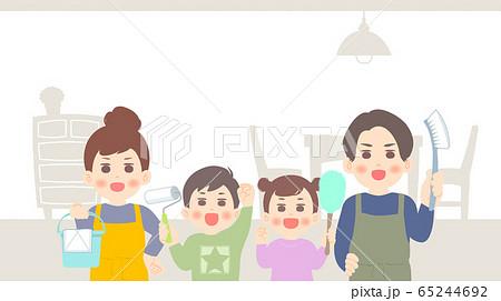 家族でお掃除 - 大掃除 屋内 背景 バナー ベージュ 茶 系 65244692