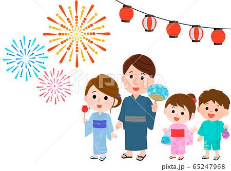夏祭り 花火を見上げる親子 イラスト 65247968