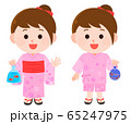 夏祭り 浴衣 甚平 女の子 イラスト 65247975