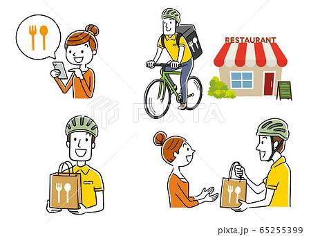 イラスト素材:フードデリバリー、配達員、自転車、セット、コレクション 65255399