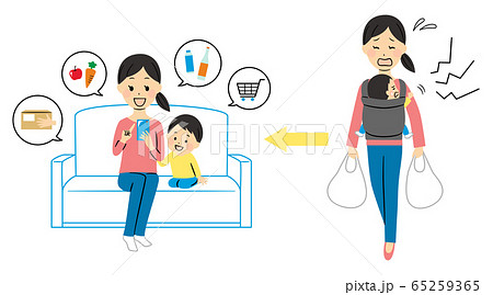 illustration of a lady ordering with smart phone 65259365