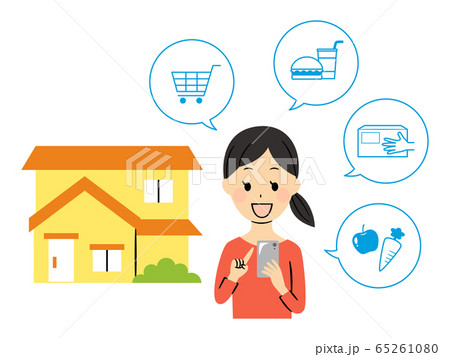 illustration of a lady ordering with smart phone 65261080