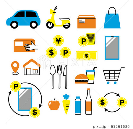 simple icon set of delivery and e-money 65261686