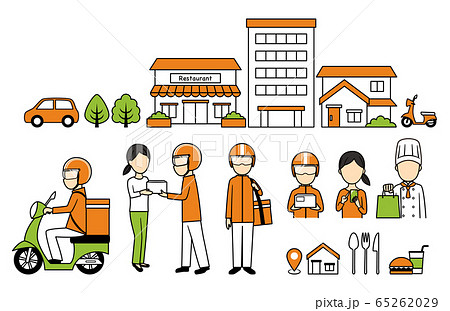 illustration of delivery and bike 65262029