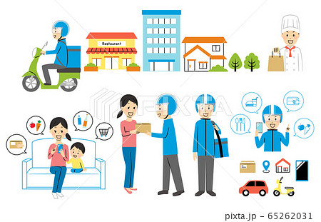illustration of delivery and bike 65262031