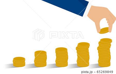 コインを積み上げる手、お金を貯めるイメージ 65269849
