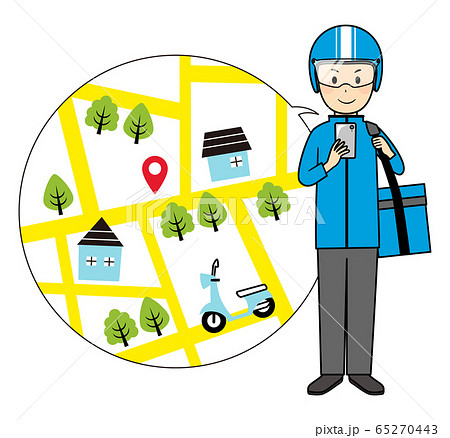 illustration of delivery and bike 65270443