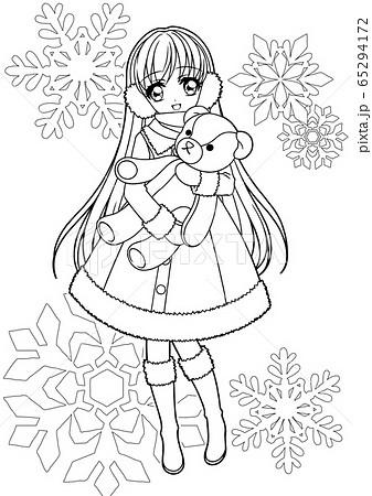 女の子塗り絵/冬の女の子(背景有り) 65294172