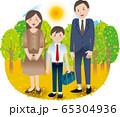 父母と中学生の男の子 夏秋 行事 65304936