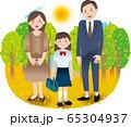 父母と中学生の女の子 夏秋 行事 65304937