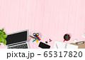 背景-机-ピンク 65317820