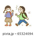 生活習慣_マスクをして通学しよう_通学路 65324094