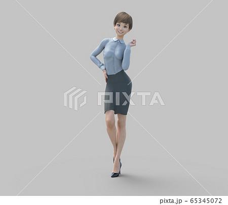ユニフォーム姿の女性 perming3DCGイラスト素材 65345072