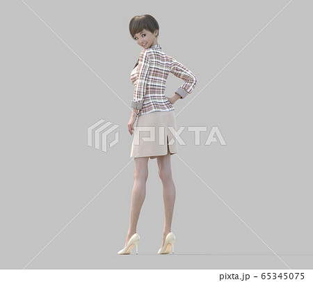 ユニフォーム姿の女性 perming3DCGイラスト素材 65345075