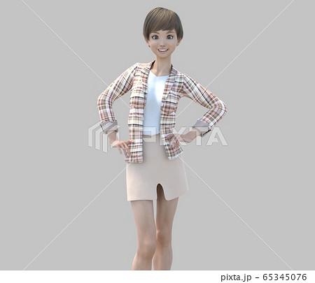 ユニフォーム姿の女性 perming3DCGイラスト素材 65345076