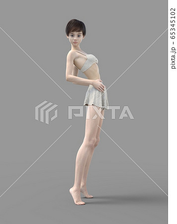 部屋着でリラックスする脚の綺麗な若い女性 perming 3DCGイラスト素材 65345102