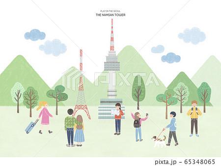 Travel and tourism concept, Famous Korean Landmarks illustration 004 65348065