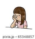 鼻血が出てしょげる女の子 65348857