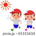 熱中症 体育で走る 男女小学生 イラスト 65353638