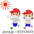 マスク熱中症 体育で走る 男女小学生 イラスト 65353639