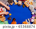 children's soft toys for developing baby games on a blue background 65368874