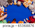 children's soft toys for developing baby games on a blue background 65368876