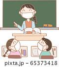 生活習慣_マスクをして授業をうけよう1 65373418