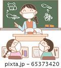生活習慣_マスクをして授業をうけよう3 65373420