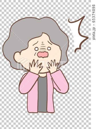 老年婦女的面部休克 65374898