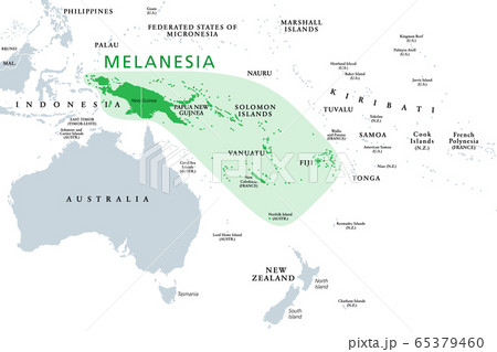 Melanesia, subregion of Oceania, political map. Extending from New Guinea in southwestern Pacific Ocean to Tonga, including Fiji, Vanuatu, Solomon Islands and Papua New Guinea. Illustration. Vector. 65379460