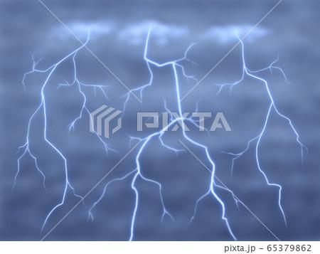 どんより暗い雲と雷・横長 65379862