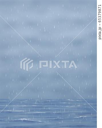 どんより雲と雨と海・縦長 65379871
