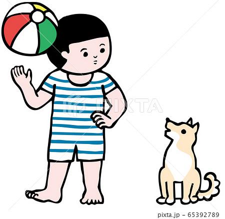 ビーチボールと少年と犬(カラー) 65392789