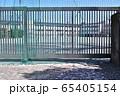 学校の門と桜の花びら 65405154