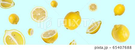 フレッシュなレモン(日本の広島レモン)の躍動感あふれる背景 65407688