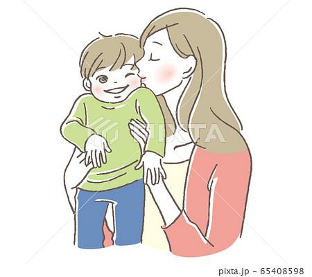 子供と母親 キス 65408598