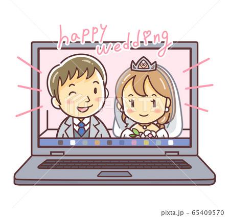 オンライン結婚式をするカップルのイラスト(web婚・婚活・恋活) 65409570