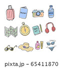 Set of Doodles Holiday,  Travel iCon with Color. 65411870