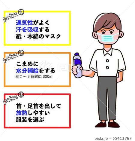 マスク熱中症対策の図解イラスト 65413767