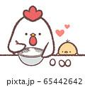 ニワトリ親子お菓子作りハート 65442642