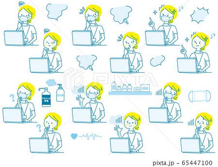 パソコン 悩む 焦る 怒る 若い女性 マスク白衣 表情セット 65447100