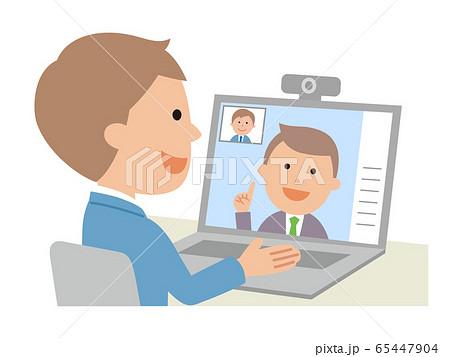 ウェブ面接を受ける男性 ウェブ会議 65447904