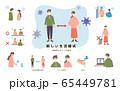 新しい生活様式を伝えるイラスト 65449781