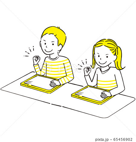 手描き1color  男の子女の子 ペンタブレット ガッツポーズ 65456902