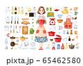 手描き水彩|ママとキッチンツール clipart イラストセット 65462580