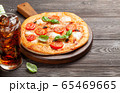 Cola and tasty homemade pizza 65469665