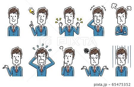 イラスト素材:ビジネスマン、男性、セット、コレクション 65475352