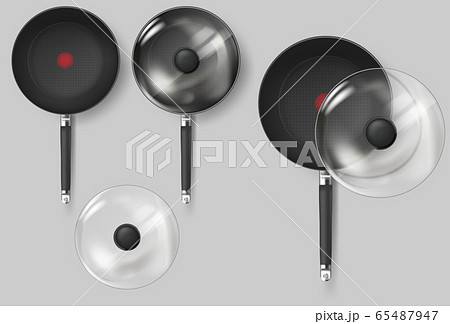 Realistic Classic fry pan with glass lid and handle. Vector 65487947