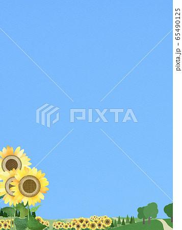 背景-青空-夏-ひまわり 65490125